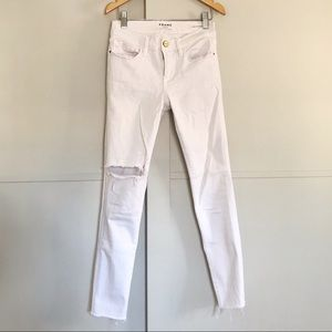 Frame Le Skinny White Distressed Jeans 24 / 25